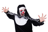 Scary nun in halloween concept