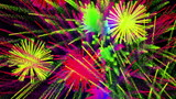 Colorful abstract fireworks on black bg, loop