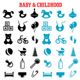 Baby and childish flat icons set