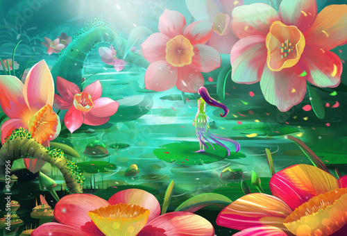 Illustration: All a Frustrated Fairy needed is just a Peaceful Place with Water and Flowers to stay alone. Realistic / Cartoon Style. Fantasy Topic. Scene / Wallpaper / Background Design.