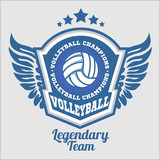 Fototapety Volleyball championship logo with ball. Vector sport badge for tournament or championship