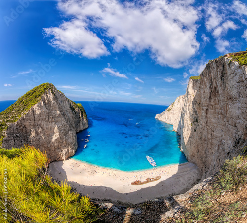 Navagio beach with shipwreck on Zakynthos island, Greece © samott