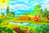 Fototapety Illustration: The Sun and the River. Cartoon Style. Nature Topic. Scene / Wallpaper / Background Design.