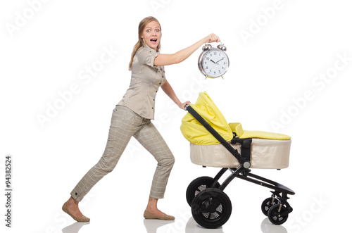 Poster Woman with pram isolated on white