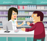 Pharmacist chemist woman in pharmacy. Man buys drugs at the pharmacy. Sale of vitamins and medications. Funny vector simple illustration.