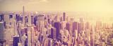 Fototapety Vintage toned Manhattan skyline at sunset, NYC, USA.