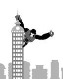 Fototapety King Kong on building. Strong big gorilla keeps Spire skyscraper