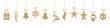 Obrazy na płótnie, fototapety, zdjęcia, fotoobrazy drukowane : christmas ornaments hanging gold isolated background