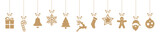 Fototapety christmas ornaments hanging gold isolated background