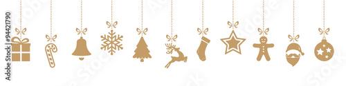 ozdoby świąteczne wiszące złoto na białym tle