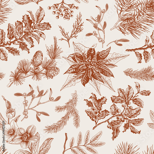 Cotton fabric Vector Seamless vintage pattern. Christmas Botanical background.
