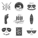Surfer vector set. Vintage elements and labels.
