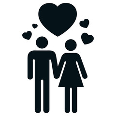 Icon pictogram couple in love with heart and love
