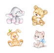 Set of 4 animals: elephant, bunny, bear, cat
