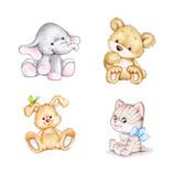 Set of 4 animals: elephant, bunny, bear, cat