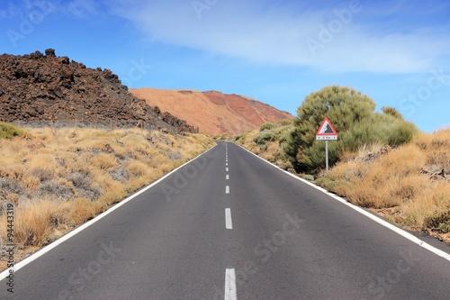 Deurstickers Canarische Eilanden Tenerife road in Teide National Park