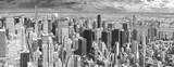 Black and white panoramic view of Manhattan, New York, USA. - 94443586
