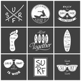 Surfer vector set. Vintage elements and labels. Grunge effect can be edited or removed