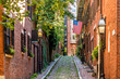 View of historic Acorn Street in Boston