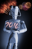 Year 2016, manikin mannequin human artist drawing model holding a wine cork on black background with fireworks