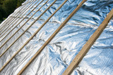 Newly laid roof insulation.