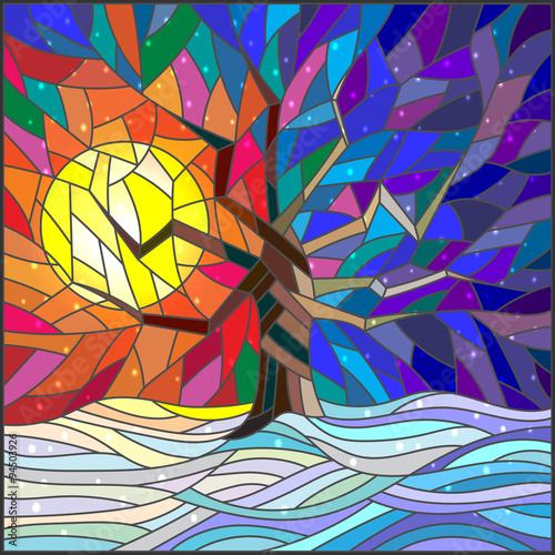 Obraz Winter landscape in the stained glass style with a lone tree against the bright sun and snow