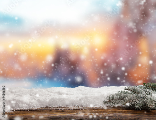 Poster Zalm Winter abstract background with wooden planks