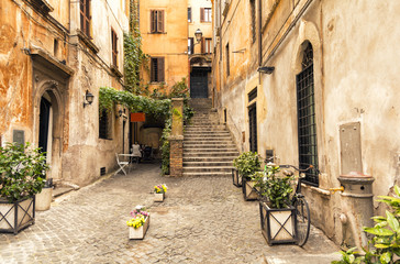 romantic alley in old part of Rome, Italy © lukaszimilena