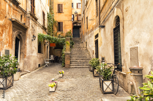 romantic alley in old part of Rome, Italy 94509795