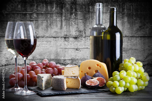 Poster Wine and cheese