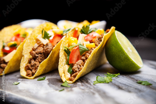 Delicious tacos with beef Poster