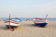 Boats on the beach in Barcelona, Spain.