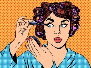 woman perms makeup hair beauty morning