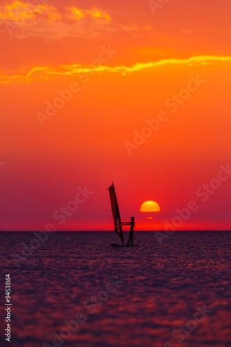 obraz lub plakat windsurfer silhouette against sun