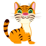Striped tigress on white background poster