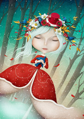Winter Fantasy illustration or greeting card with a beautiful Snow Maiden