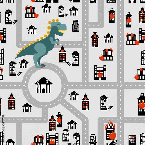 Materiał do szycia Aggressive dinosaur destroys urban building seamless pattern. An