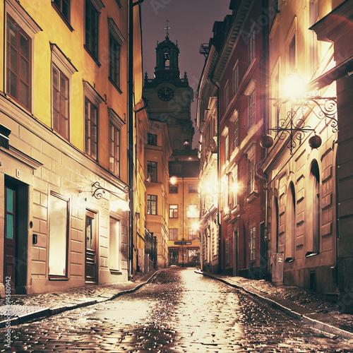 Staande foto Stockholm The night street in Gamla Stan, Stockholm.