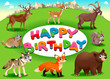 Happy Birthday card with mountain animals