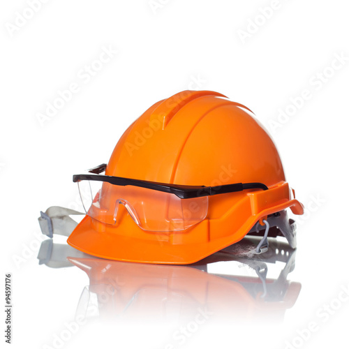 Poster Safety helmet and goggles