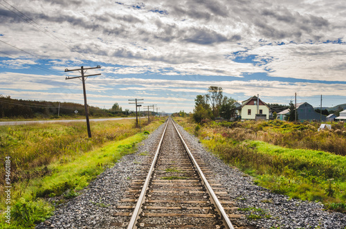 Poster Straight Stretch of Railroad and Cloudy Sky