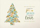 Fototapety Merry christmas new year triangle tree gold retro