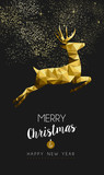 Fototapety Merry christmas happy new year gold deer low poly