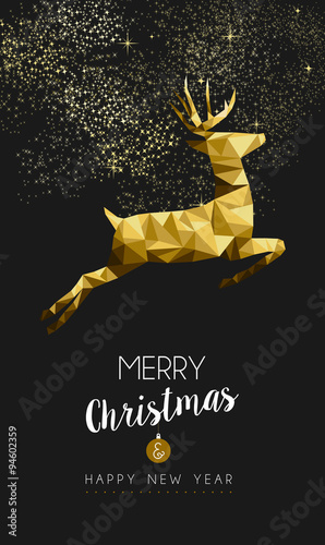 Merry christmas happy new year gold deer low poly