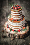 Fototapety wedding cake in rustic style with berries