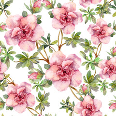 Pink flowers. Seamless floral repeated template. Hand painted watercolor on white background