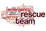 Rescue team word cloud concept