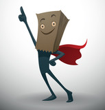 Vector Anonymous, in a red cloak. Cartoon image of someone dark gray color in a red cloak with a smiling paper bag on his head on a light background.
