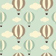 cute vintage hot air balloon seamless vector pattern background illustration - 94630957