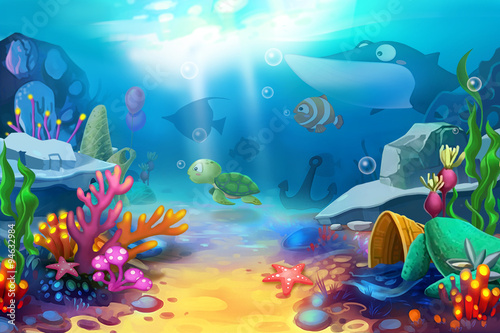 Fototapeta Illustration: The Happy Ocean World - Scene Design